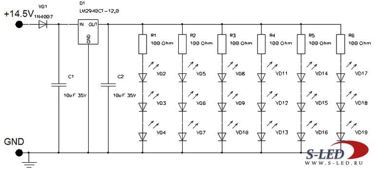 Схема стабилизатора тока 12В
