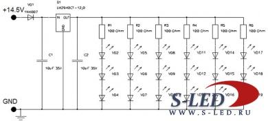 Схема стабилизатора тока 12В для светодиодов
